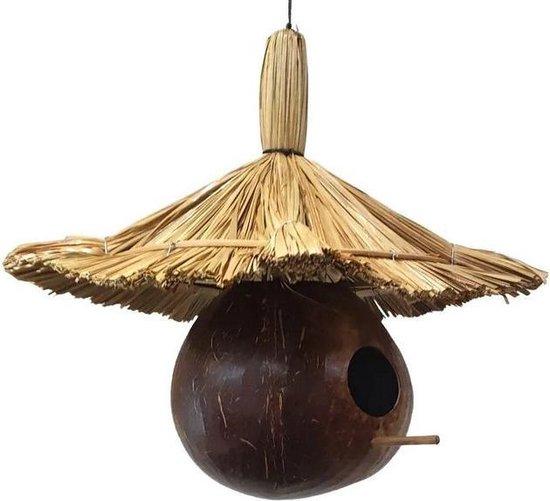 Vogelhuisje van kokosnoot en stro, 35cm